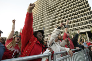 UTLA members rally in downtown LA on Feb. 26