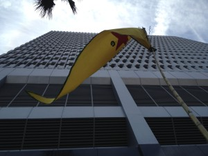 A YPG flag flies outside the Turkish consulate in LA.